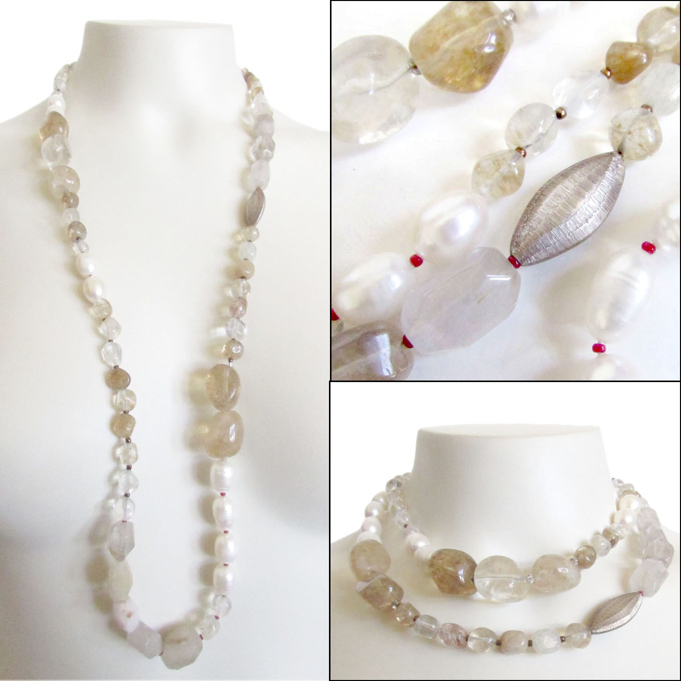 Open-Minded Multi-colored Strand Beads Necklace With Sterling Silver Pendants Jewelry & Watches